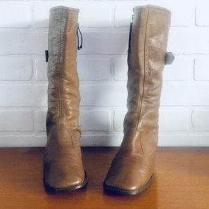 Vintage 60s Boots Leather Winter Boots Size 7 M